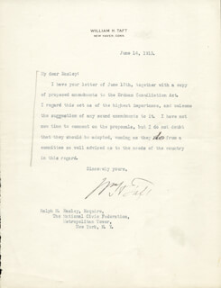 PRESIDENT WILLIAM H. TAFT - TYPED LETTER SIGNED 06/14/1913