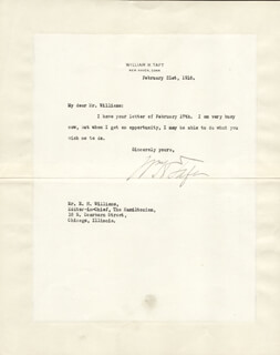 PRESIDENT WILLIAM H. TAFT - TYPED LETTER SIGNED 02/21/1916