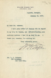 PRESIDENT WILLIAM H. TAFT - TYPED LETTER SIGNED 01/18/1909