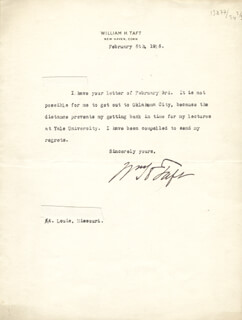 PRESIDENT WILLIAM H. TAFT - TYPED LETTER SIGNED 02/06/1916