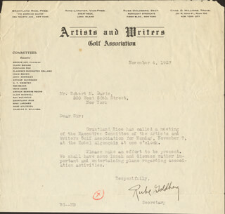 RUBE GOLDBERG - TYPED LETTER SIGNED 11/04/1927