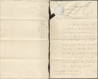 Autographs: KING GEORGE IV (GREAT BRITAIN) - DIPLOMATIC APPOINTMENT SIGNED 01/22/1827 CO-SIGNED BY: PRIME MINISTER GEORGE CANNING (GREAT BRITAIN)