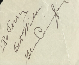 GLENN CUNNINGHAM - AUTOGRAPH NOTE SIGNED CO-SIGNED BY: HENNY YOUNGMAN