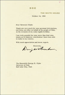 PRESIDENT DWIGHT D. EISENHOWER - TYPED LETTER SIGNED 10/14/1958