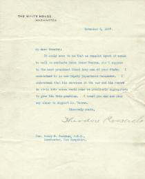 PRESIDENT THEODORE ROOSEVELT - TYPED LETTER SIGNED 11/06/1907