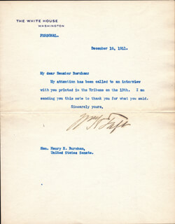 PRESIDENT WILLIAM H. TAFT - TYPED LETTER SIGNED 12/18/1911