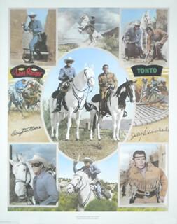 Autographs: LONE RANGER TV CAST - POSTER SIGNED CO-SIGNED BY: CLAYTON THE LONE RANGER MOORE, JAY TONTO SILVERHEELS