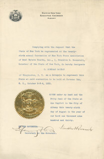 Autographs: PRESIDENT FRANKLIN D. ROOSEVELT - CIVIL APPOINTMENT SIGNED 08/26/1930