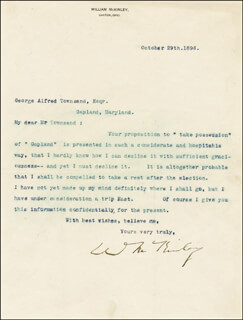 Autographs: PRESIDENT WILLIAM McKINLEY - TYPED LETTER SIGNED 10/29/1896