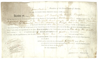 PRESIDENT JAMES MADISON - LAND GRANT SIGNED 05/15/1811 CO-SIGNED BY: PRESIDENT JAMES MONROE