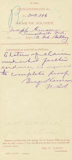 PRESIDENT BENJAMIN HARRISON - AUTOGRAPH NOTE SIGNED 07/24/1884