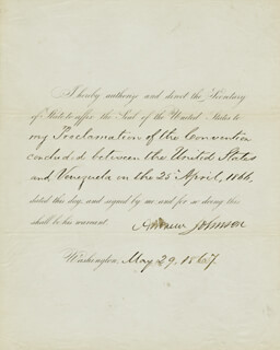 PRESIDENT ANDREW JOHNSON - PRESIDENTIAL WARRANT SIGNED 05/29/1867