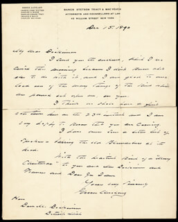 PRESIDENT GROVER CLEVELAND - AUTOGRAPH LETTER SIGNED 12/15/1890
