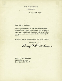 PRESIDENT DWIGHT D. EISENHOWER - TYPED LETTER SIGNED 10/22/1956