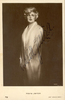 Autographs: MARIA JERITZA - PICTURE POST CARD SIGNED