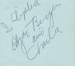 EDGAR BERGEN - INSCRIBED SIGNATURE CO-SIGNED BY: CHARLIE McCARTHY, ILKA CHASE