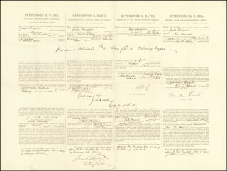 PRESIDENT RUTHERFORD B. HAYES - FOUR LANGUAGE SHIPS PAPERS SIGNED 02/07/1881 CO-SIGNED BY: JAMES TAYLOR, J. A. P. ALLEN, WILLIAM M. EVARTS