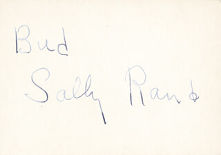 SALLY RAND - INSCRIBED SIGNATURE