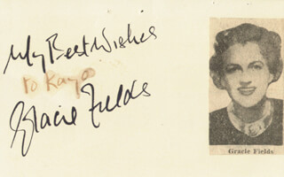 GRACIE FIELDS - AUTOGRAPH SENTIMENT SIGNED
