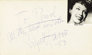 SIGNE HASSO - AUTOGRAPH NOTE SIGNED 1957