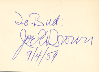 JOE E. BROWN - INSCRIBED CARD SIGNED 09/04/1959