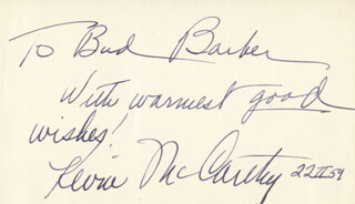 KEVIN McCARTHY - AUTOGRAPH NOTE SIGNED 02/22/1959