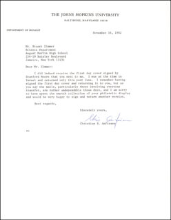 Autographs: CHRISTIAN B. ANFINSEN - TYPED LETTER SIGNED 11/16/1982