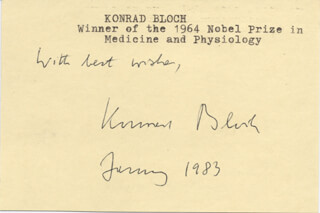 Autographs: KONRAD E. BLOCH - AUTOGRAPH SENTIMENT SIGNED 1/1983