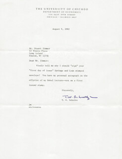 Autographs: THEODORE W. SCHULTZ - TYPED LETTER SIGNED 08/09/1982