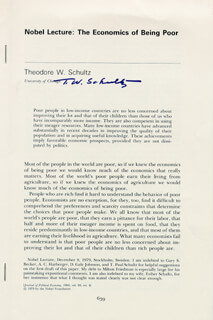 Autographs: THEODORE W. SCHULTZ - PAMPHLET SIGNED