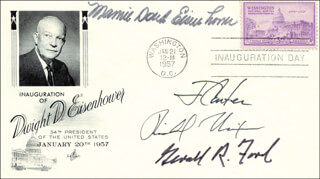 PRESIDENT RICHARD M. NIXON - INAUGURATION DAY COVER SIGNED CO-SIGNED BY: PRESIDENT JAMES E. JIMMY CARTER, FIRST LADY MAMIE DOUD EISENHOWER, PRESIDENT GERALD R. FORD