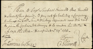 Autographs: CHIEF JUSTICE OLIVER ELLSWORTH - AUTOGRAPH DOCUMENT SIGNED 11/29/1776 CO-SIGNED BY: MAYOR THOMAS SEYMOUR