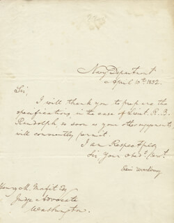 ASSOCIATE JUSTICE LEVI WOODBURY - MANUSCRIPT LETTER SIGNED 04/10/1832