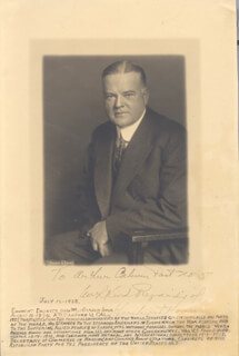 Autographs: PRESIDENT HERBERT HOOVER - INSCRIBED PHOTOGRAPH SIGNED CIRCA 1928