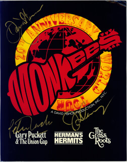 THE MONKEES - AUTOGRAPHED SIGNED POSTER CIRCA 1986 CO-SIGNED BY: THE MONKEES (DAVY JONES), THE MONKEES (MICKEY DOLENZ), THE MONKEES (PETER TORK)
