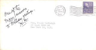 Autographs: PRESIDENT HERBERT HOOVER - AUTOGRAPH NOTE SIGNED CIRCA 1945