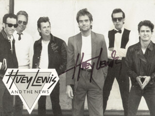 HUEY LEWIS & THE NEWS (HUEY LEWIS) - PICTURE POST CARD SIGNED
