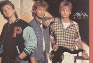 Autographs: A-HA - MAGAZINE PHOTOGRAPH SIGNED CO-SIGNED BY: PAUL WAAKTAAR-SAVOY, MAGNE FURUHOLMEN, MORTEN HARKET