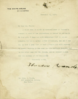 PRESIDENT THEODORE ROOSEVELT - TYPED LETTER SIGNED 11/21/1907