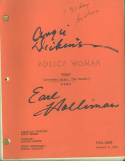 POLICE WOMAN TV CAST - SCRIPT SIGNED CIRCA 1976 CO-SIGNED BY: ANGIE DICKINSON, EARL HOLLIMAN