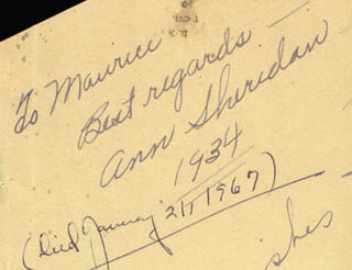 ANN THE OOMPH GIRL SHERIDAN - INSCRIBED SIGNATURE 1934
