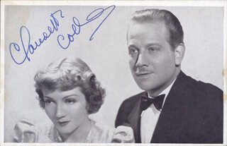 CLAUDETTE COLBERT - PICTURE POST CARD SIGNED