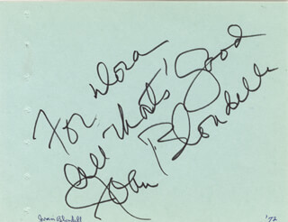 JOAN BLONDELL - AUTOGRAPH NOTE SIGNED CIRCA 1972