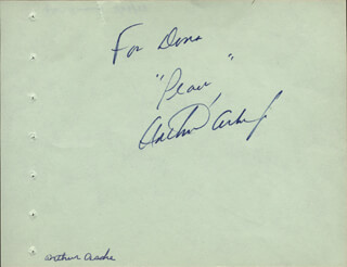 Autographs: ARTHUR ASHE - AUTOGRAPH NOTE SIGNED CO-SIGNED BY: DON AMECHE