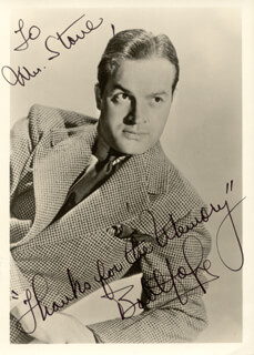 BOB HOPE - AUTOGRAPHED INSCRIBED PHOTOGRAPH