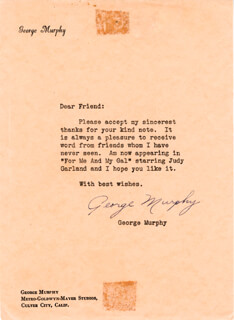GEORGE MURPHY - TYPED LETTER SIGNED