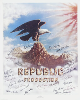 REPUBLIC PICTURES - AUTOGRAPHED SIGNED POSTER CO-SIGNED BY: PEGGY STEWART, DON RED BARRY, MONTE HALE, PENNY EDWARDS, YAKIMA CANUTT, MARIE WINDSOR, BOB NOLAN, I. STANFORD JOLLEY, SLOAN NIBLEY, TRIS COFFIN, GEORGE J. LEWIS, ADRIAN (LORNA GRAY) BOOTH, JANE FRAZEE, SPENCER GORDON BENNETT, THEODORE LYDECKER, HARRY LAUTER, WILLIAM WITNEY, ROBERT LIVINGSTON, BOB STEELE, DALE EVANS, SLIM PICKENS, VERA H. RALSTON, TOM STEELE, ROY ROGERS, ROD CAMERON, REX ALLEN, LINDA STIRLING, KIRK ALYN