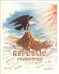 Autographs: REPUBLIC PICTURES - POSTER SIGNED CO-SIGNED BY: PEGGY STEWART, DON RED BARRY, MONTE HALE, PENNY EDWARDS, YAKIMA CANUTT, MARIE WINDSOR, BOB NOLAN, I. STANFORD JOLLEY, SLOAN NIBLEY, TRIS COFFIN, GEORGE J. LEWIS, ADRIAN (LORNA GRAY) BOOTH, JANE FRAZEE, SPENCER GORDON BENNETT, THEODORE LYDECKER, HARRY LAUTER, WILLIAM WITNEY, ROBERT LIVINGSTON, BOB STEELE, DALE EVANS, SLIM PICKENS, VERA H. RALSTON, TOM STEELE, ROY ROGERS, ROD CAMERON, REX ALLEN, LINDA STIRLING, KIRK ALYN