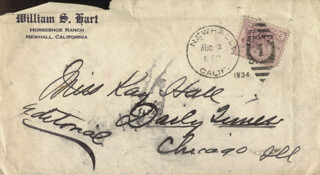 WILLIAM S. HART - AUTOGRAPH ENVELOPE UNSIGNED 08/03/1934