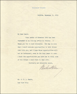 PRESIDENT WOODROW WILSON - TYPED LETTER SIGNED 12/11/1912 CO-SIGNED BY: ELSTON RALSTON LOVELL GOULD